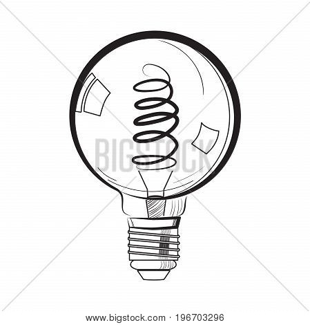 Incandescent light bulb sketch. Tungsten bulb. Vector illustration, EPS 10