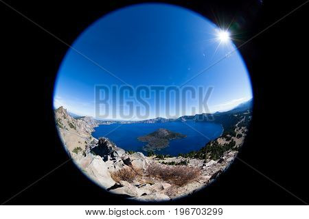 Fish-eye Effect Of Crater Lake National Park