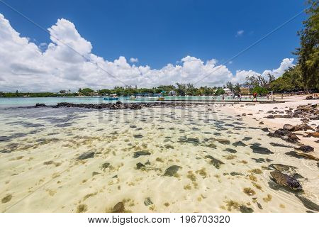 Blue Bay Mauritius - December 27 2015: Wide-angle view of the Blue Bay Marine Park Mauritius Mahebourg Indian Ocean. Polarizing filter is used.