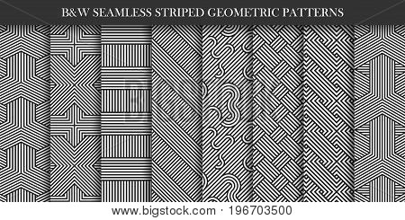Collection of seamless striped patterns. Black and white repeatable geometric texture. You can find seamless backgrounds is swatches panel.