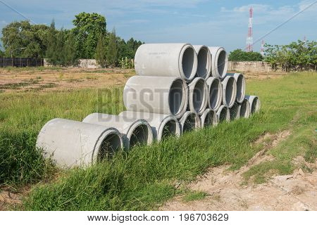 Stacked Concrete Pipes.