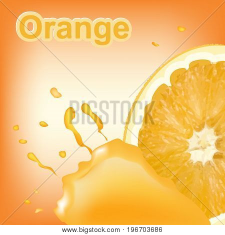 Refreshing orange background with drops of juice and piece of orange. Vector illustration.