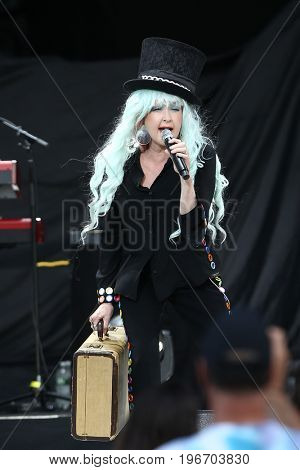 WANTAGH, NY-JUL 18: Singer Cyndi Lauper performs in concert at Northwell Health at Jones Beach Theater on July 18, 2017 in Wantagh, New York.