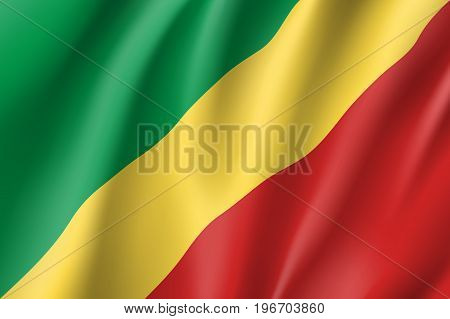 Congo flag. National patriotic symbol in official country colors. Illustration of Africa state waving flag. Realistic vector icon
