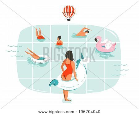 Hand drawn vector abstract cartoon summer time fun illustration with swimming people in swimming pool with hot air balloons isolated on white background
