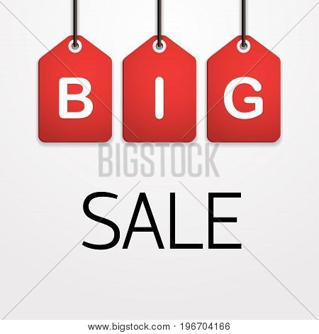 Big sale Vector illustration Red tags with the inscription Big sale on a white background Paper art style