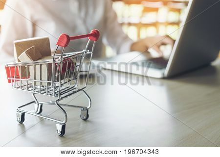 Internet online shopping concept woman shopping online is a form of electronic commerce from a seller over internet.
