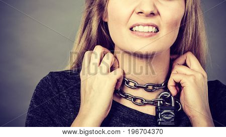 Woman Having Chain Around Neck