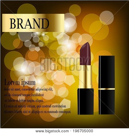 Vector flat fashion illustration with lipstick, pink paint shade strokes on background, yellow label design, text template, color palette on white backdrop. Internet, journal, magazine, book article.
