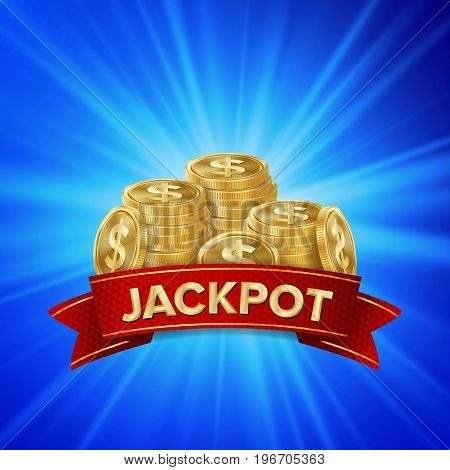 Jackpot Background Vector. Golden Casino Treasure. Big Win Banner For Online Casino Jackpot Prize Design. Coins background.