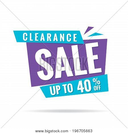 Vol. 3 Clearance Sale Blue Purple 40 Percent Heading Design For Banner Or Poster. Sale And Discounts