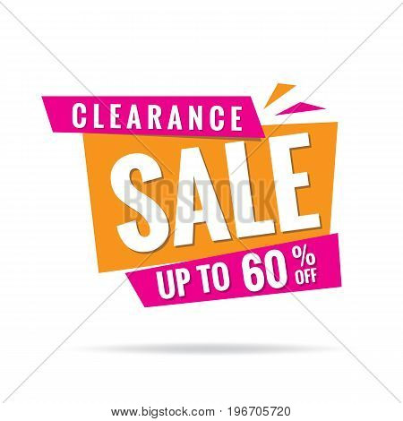 Vol. 3 Clearance Sale Pink Orange 60 Percent Heading Design For Banner Or Poster. Sale And Discounts