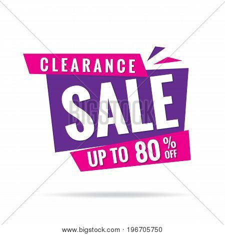 Vol. 3 Clearance Sale Pink Purple 80 Percent Heading Design For Banner Or Poster. Sale And Discounts