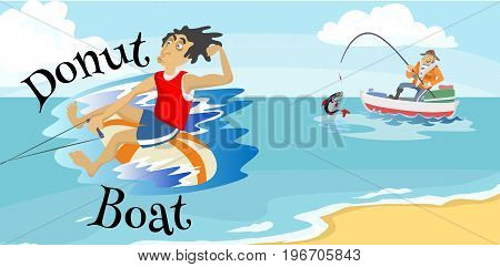 inflatable watercraft banana boat water extreme sports, isolated design element for summer vacation activity concept, cartoon wave surfing, sea beach vector illustration, active lifestyle adventure.