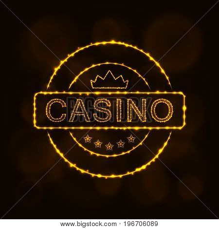 Casino icon. Casino emblem symbol lights silhouette design on dark background. Vector illustration. Glowing Lines and Points. Gold color.