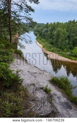 View from cliff on river and forest. Erglu Cliffs on the bank of the Gauja river.