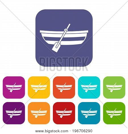 Fishing boat icons set vector illustration in flat style in colors red, blue, green, and other