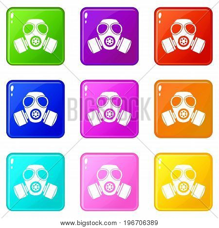 Chemical gas mask icons of 9 color set isolated vector illustration