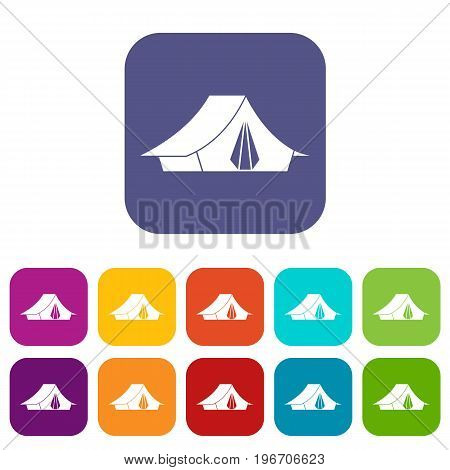 Camping tent icons set vector illustration in flat style in colors red, blue, green, and other
