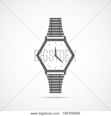 Wristwatch icon in flat design. Vector illustration. Gray wristwatch icon isolated on light background.