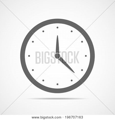 Clock icon in flat design. Vector illustration. Gray clock icon isolated on light background.