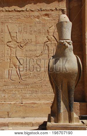 Statue of Horus in temple of Edfu