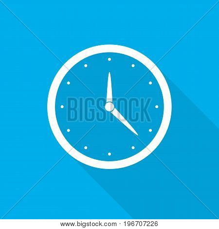 Clock icon with arrows in flat design. Vector illustration. White clock icon with long shadow on blue background.