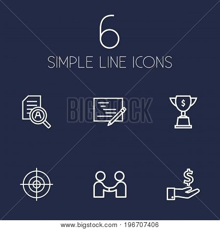 Collection Of Partnership, Research, Achievement And Other Elements.  Set Of 6 Startup Outline Icons Set.