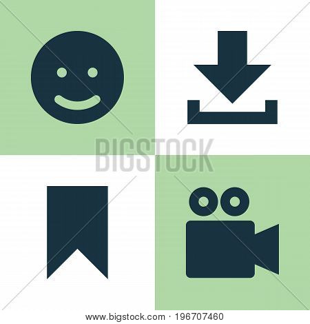 Internet Icons Set. Collection Of Camcorder, Smile, Flag And Other Elements