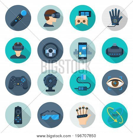 Augmented reality set. AR gaming device, real life technology setting. Vector flat style cartoon illustration isolated on white background
