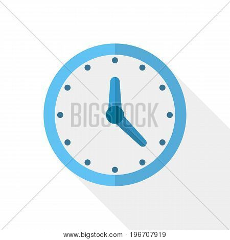 Clock icon with arrows in flat design. Vector illustration. Blue clock icon with long shadow on white background.