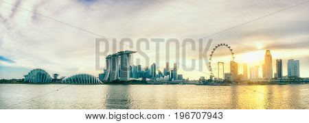 SINGAPORE-JULY 9 2016: Landscape of Singapore Skyline and view of skyscrapers on Marina Bay at sunset time The most famous tourist attraction in Singapore.