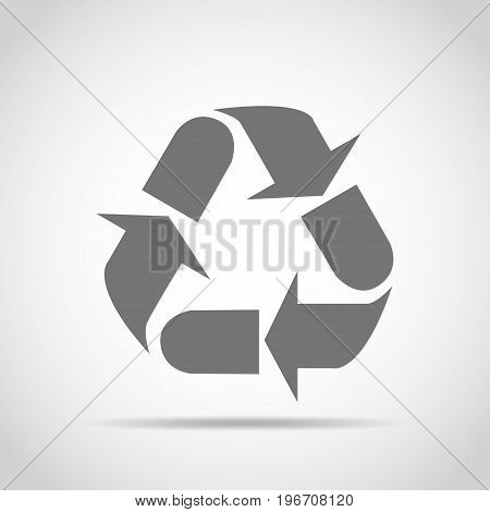 Recycle sign. Vector illustration. Gray recycle sign isolated on light background.