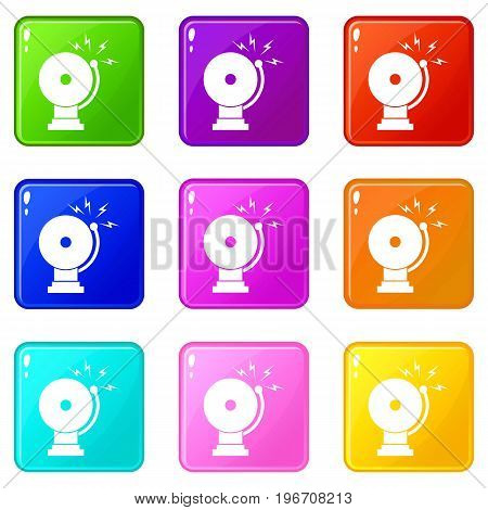 Fire alarm icons of 9 color set isolated vector illustration