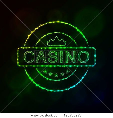 Casino icon. Casino emblem symbol lights silhouette design on dark background. Vector illustration. Glowing Lines and Points. Gradient color.