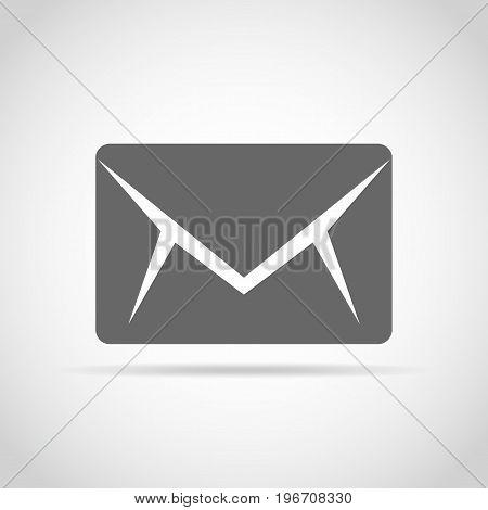 Envelope icon in flat design. Vector illustration. Gray envelope icon on light background.