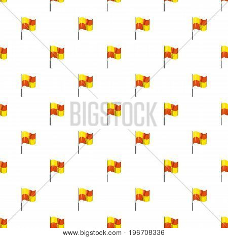 Yellow and orange flag with flagpole pattern seamless repeat in cartoon style vector illustration