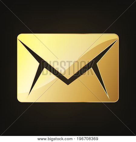 Golden envelope icon. Vector illustration. Golden glossy envelope on dark background.