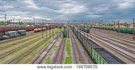 Panoramic view of the railway yard on which sorting of freight railway trains takes place