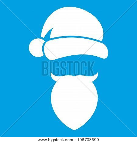 Santa Claus hat and beard icon white isolated on blue background vector illustration