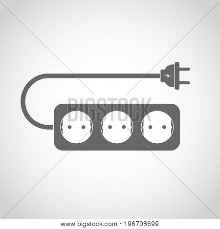 Power extension cord. Vector illustration. Simple gray extension cord on light background.