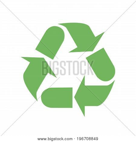 Recycle sign. Vector illustration. Green recycle sign isolated on white background.