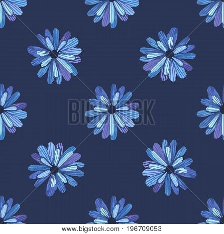 Flowers seamless pattern. Blue flowers nature pattern. Vector stock.