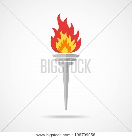 Torch icon with a flame in flat design. Vector illustration. Colored torch with shadow on light background.
