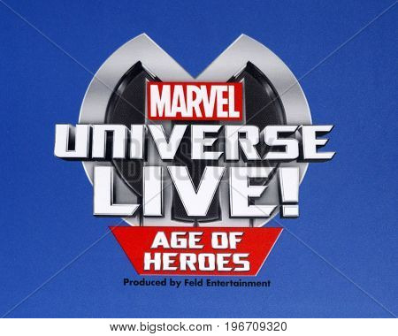LOS ANGELES - JUL 8:  Marvel Universe Live Emblem at the Marvel Universe Live Red Carpet at the Staples Center on July 8, 2017 in Los Angeles, CA