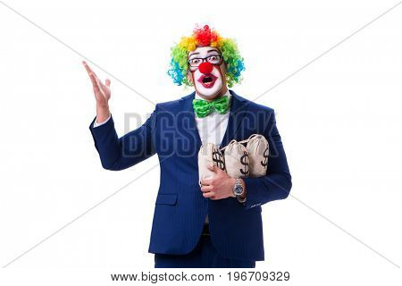 Funny clown businessman with money sacks bags isolated on white