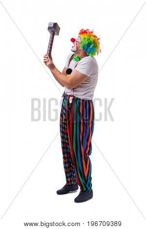 Funny clown with a hammer isolated on white background