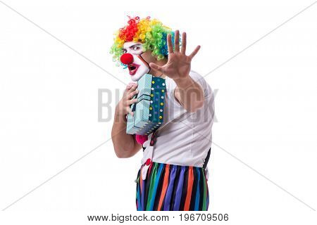 Funny clown with a gift present box isolated on white background