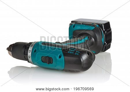 cordless drill cordless screwdriver on white background