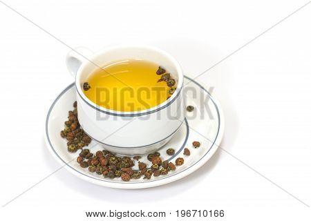 Chrysanthemum Flower Tea On White Background